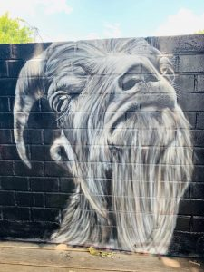 """""""Majestic Goat"""" Spray Paint. 2019. Located at The Bearded Goat in Downtown Greensboro, NC"""
