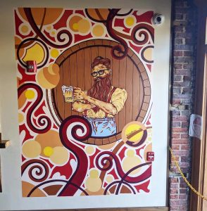 """""""That Beer Guy"""" Acrylic and Enamel. 84""""x 55"""" 2019. Four Saints Brewing Company Indoor Mural, Asheboro NC"""