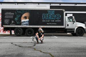"""The Light, II"" Montana gold Spray Paint on Box Truck, 27 x 7'"